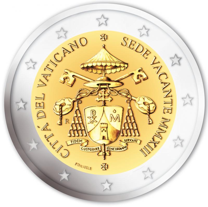 ... Euromunt van de Vaticaanstad uit 2013 met het motief Sede Vacante 2013